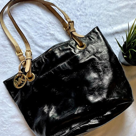 Michael Kors Patent Black Leather MK Handbag Purse